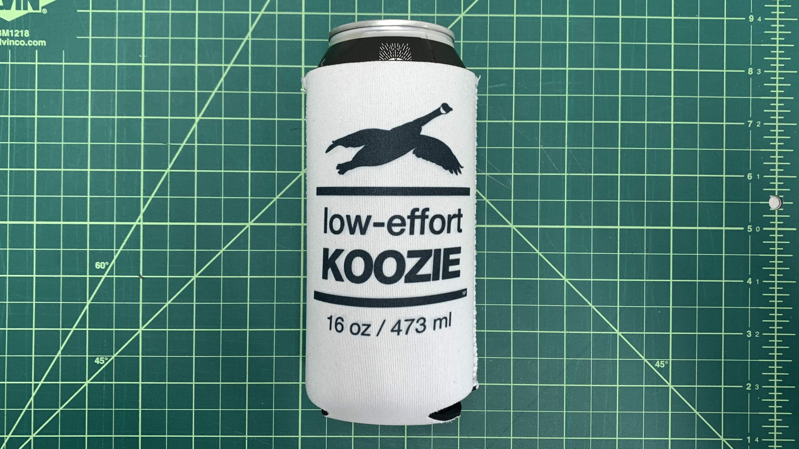16oz Low effort koozie - on can - 16x9