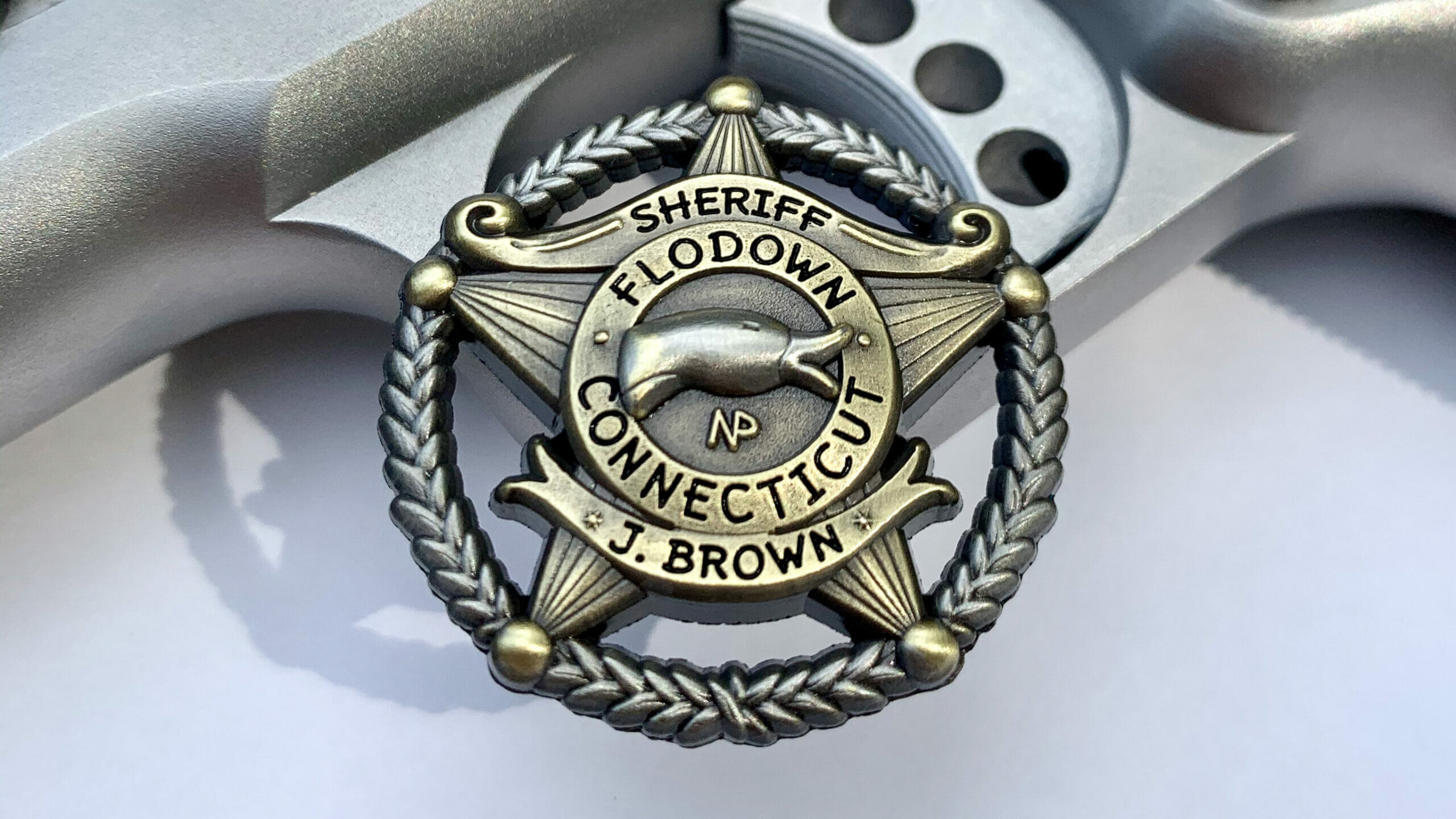 Antique Flodown Sheriff Badge in Gold with Silver