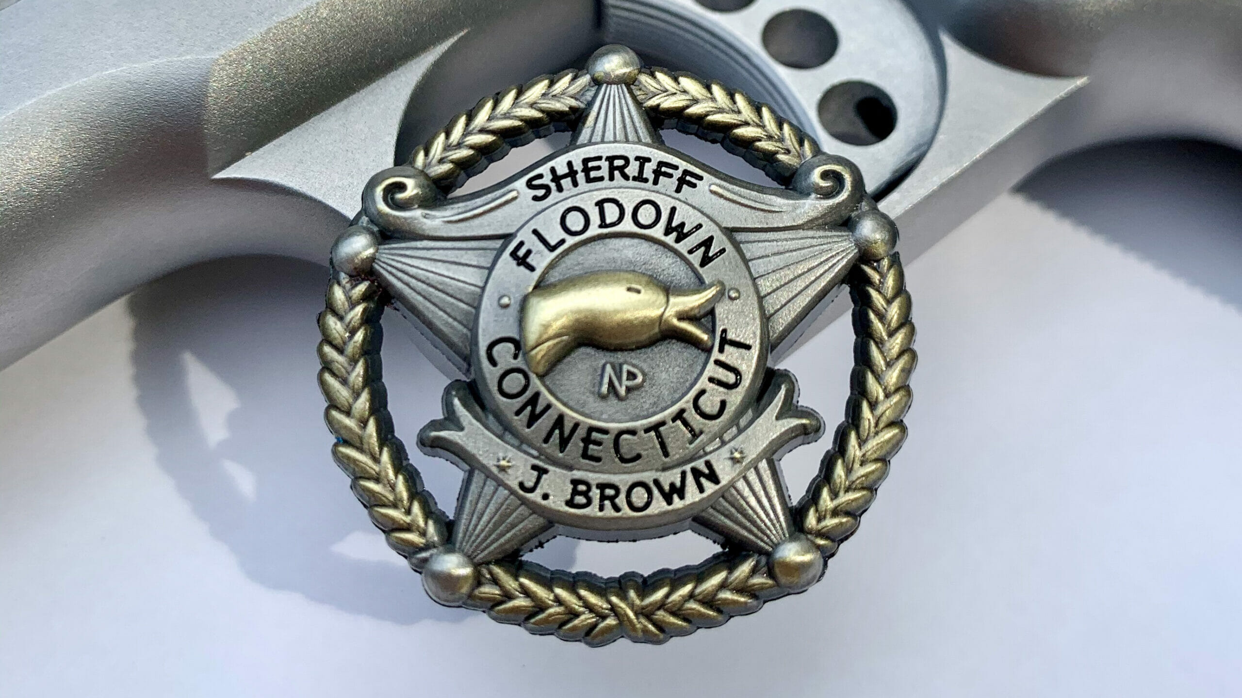 Antique Flodown Sheriff Badge in Silver with Gold